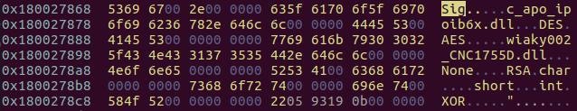 SigLoaderにハードコードされたファイル名や暗号化方法