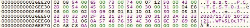 送信されるデータの例(暗号化前)